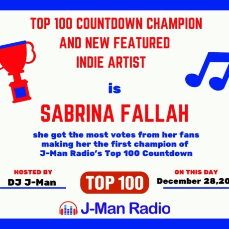 Sabrina Fallah – Interview with Jordan about my #1 win on the Top 100 Countdown on J-Man Radio